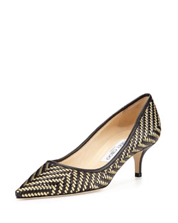 Jimmy Choo Aza Woven Leather Kitten-Heel Pump, Black/Gold