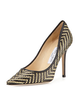 Jimmy Choo Aza Woven Leather Pump, Black/Gold