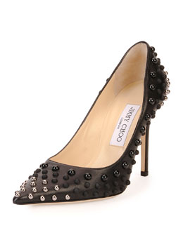 Jimmy Choo Abel Studded Point-Toe Pump, Black/Silver