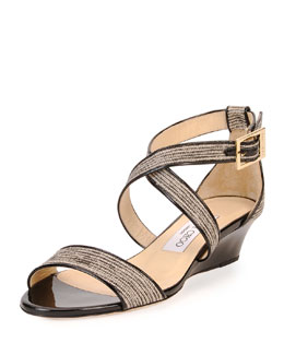 Jimmy Choo Chiara Glitter Crisscross Demi-Wedge Sandal, Natural/Black