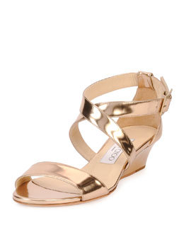 Jimmy Choo Chiara Metallic Crisscross Demi-Wedge Sandal, Nude