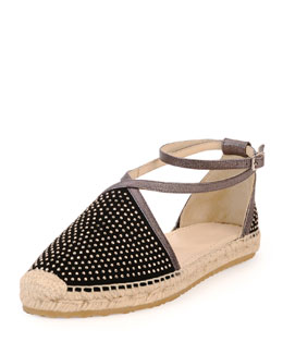Jimmy Choo Donna Studded Espadrille Flat, Black