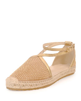 Jimmy Choo Donna Studded Espadrille Flat, Nude