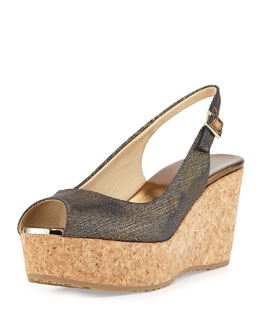 Jimmy Choo Praise Metallic Denim Slingback Wedge, Indigo/Gold