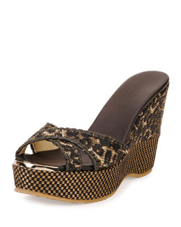 Jimmy Choo Perfume Raffia Wedge Sandal, Black/Natural