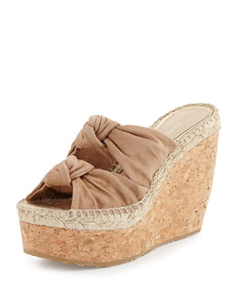 Jimmy Choo Priory Suede & Cork Wedge, Nude