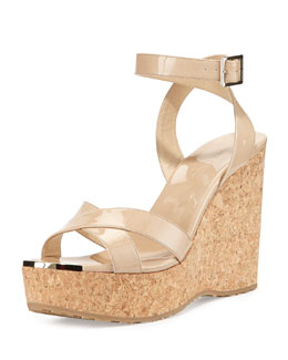 Jimmy Choo Papyrus Patent Cork Wedge, Nude