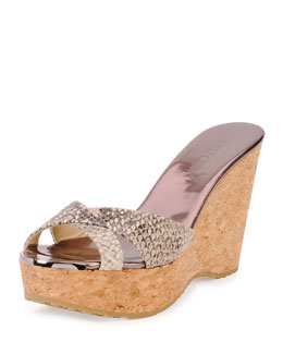 Jimmy Choo Perfume Snake-Print Wedge Sandal, Natural