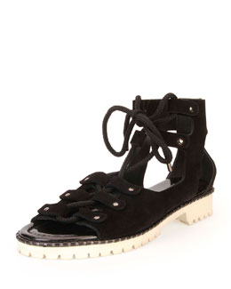 Jimmy Choo Wylde Suede Lace-Up Sandal, Black