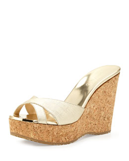 Jimmy Choo Perfume Metallic Wedge Slide, Champagne