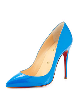 Christian Louboutin Pigalle Follies Point-Toe Red Sole Pump, Blue