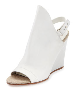Vince Kostel Open-Toe Slingback Wedge Bootie, Optic White