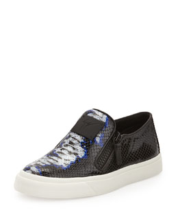 Giuseppe Zanotti Printed Leather Skate Shoe, Blue