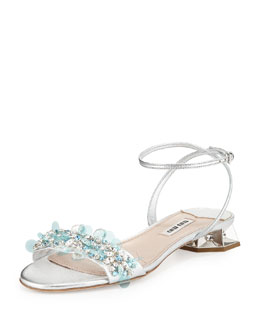 Miu Miu Embroidered Facet-Jewel Heel Sandal, Argento