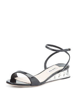 Miu Miu Patent Jeweled Facet Wedge, Nero