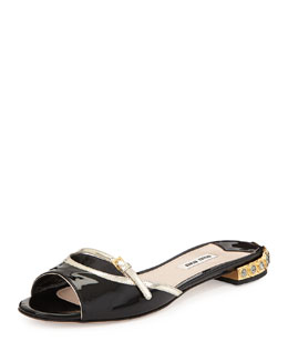 Miu Miu Patent Leather Jeweled-Heel Slides, Black/Pirite