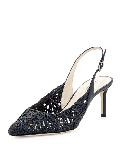 Woven Leather Slingback Pump, Navy
