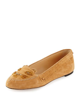 Charlotte Olympia Moccasin Kitty Suede Cat Slipper