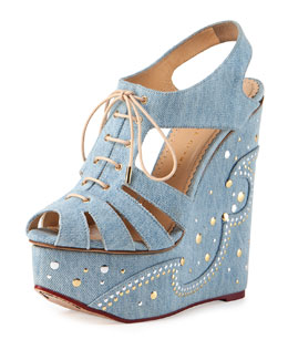 Charlotte Olympia Denim Embroidered Lace-Up Wedge Sandal