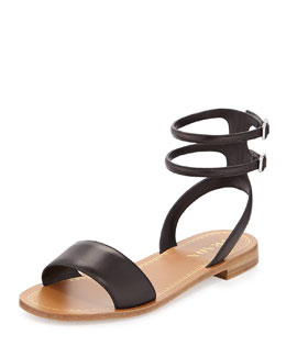 Prada Double Ankle-Wrap Flat Sandal, Black (Nero)