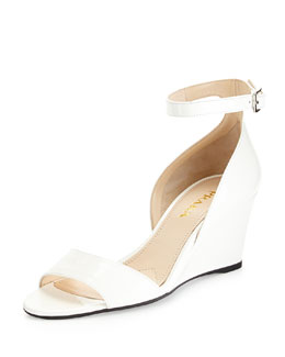 Prada Patent Demi-Wedge Sandal, White