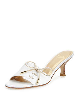 Stuart Weitzman Tablet Leather Bow Slide, White