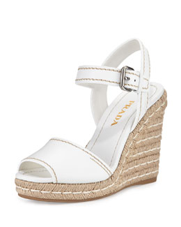 Prada Leather Rope Wedge Sandal, Bianco