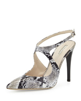 Giorgio Armani Snake-Embossed Cutout Pump, Black/White