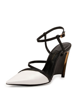Lanvin Leather Wedge Pump, White/Black
