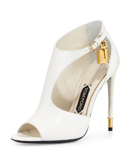 Tom Ford Padlock Leather Cutout Bootie, Chalk