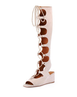 Chloe Suede Gladiator Tall Wedge Sandal, Cream Puff