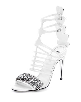 Fendi Jeweled Leather Cage Sandal, White