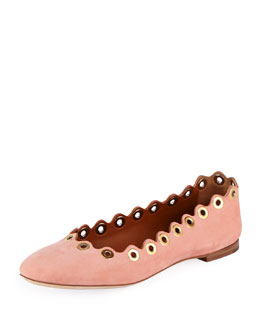 Chloe Wavy Rivet Leather Ballerina Flat, Beige Rose