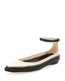 Bottega Veneta Ankle Strap Leather Flat, Prusse/Mist