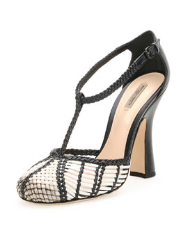 Bottega Veneta Woven Leather T-Strap Pump, Mist/Prusse
