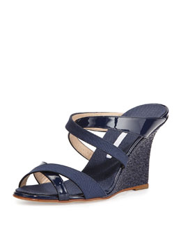 Manolo Blahnik Varchi Patent Leather and Linen Crisscross Wedge Sandal, Navy