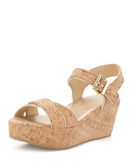 Stuart Weitzman Playdate Cork Wedge Sandal, Natural