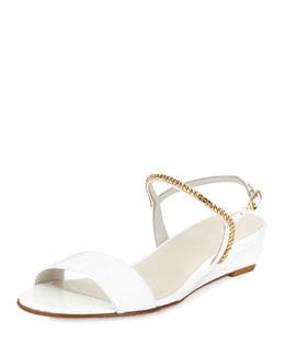 Stuart Weitzman Sweeper Chain Demi-Wedge Sandal, White