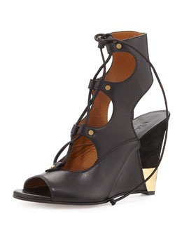 Chloe Leather Gladiator Wedge Sandal, Black