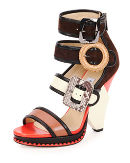 Jimmy Choo Kaya Ladder-Strap Wedge Sandal