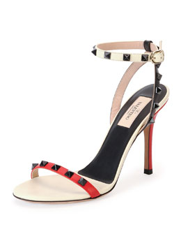 Valentino Rockstud Lacquer-Stud Ankle-Wrap Sandal, Rosso/Lt Ivory