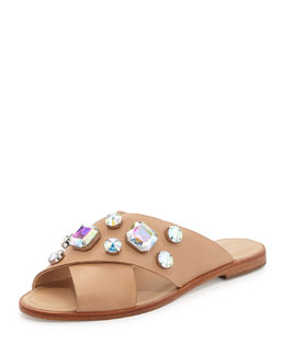 Loeffler Randall Echo Jewel-Embellished Sandal, Wheat/Pearl