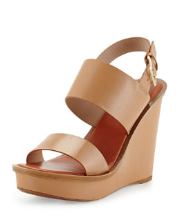 Tory Burch Lexington Leather Wedge Sandal