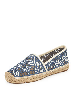 Tory Burch Lucia Lace Espadrille, Ivory/ Medium Blue