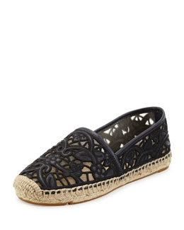 Tory Burch Lucia Lace Espadrille Flat, Tory Navy/Black