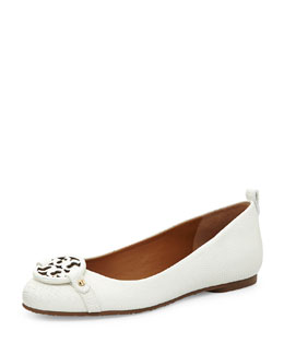 Tory Burch Mini Miller Lizard-Embossed Flat, Cotton