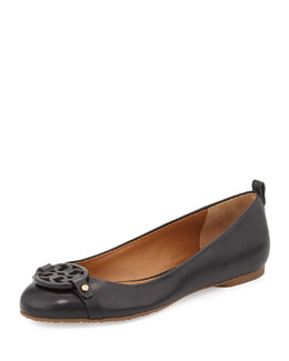 Tory Burch Mini Miller Leather Logo Flat, Black
