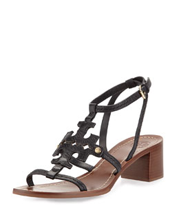 Tory Burch Phoebe Leather Logo Sandal, Black