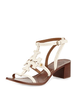 Tory Burch Phoebe Leather Logo Sandal, Ivory