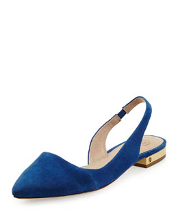 Tory Burch Classic Point-Toe Slingback Flat, Navy